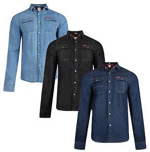 f81be5af67c Lee Cooper Slim Fit Denim Shirt New Western Classic Blue Black ...