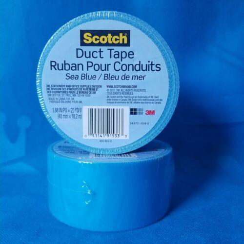 2 ROLLS!! 3M SCOTCH BRAND DUCT TAPE ROLL in SEA BLUE