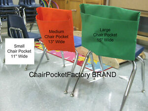 """LARGE CHAIR POCKET * SEAT SACK * Fits Chairs 15"""" WIDE or smaller CLASSROOM"""