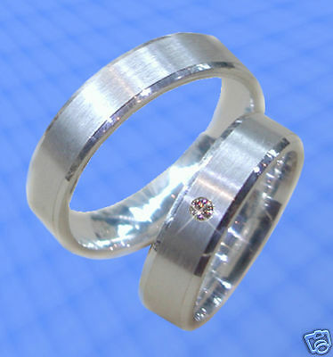 Silber 925 2 Schöne Silber Trauringe J25-1 Einfach Und Leicht Zu Handhaben Eheringe Mit Stein