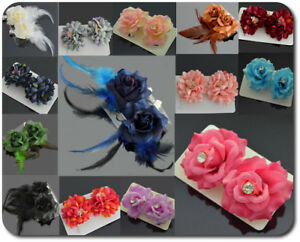 1-Paar-Haarbluete-2-Haarclip-Haarspange-Stoff-Blumen-Rose-3-Modelle-10-Farben