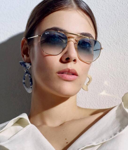 RAY BAN MARSHAL RB3648 001-3F HEXAGONAL Sunglasses Light Blue Lens, Gold  Frame 6b43305206