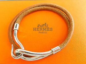 c8e609b61c7 A imagem está carregando Autentico-Hermes -Silvertone-Gancho-Colar-Gargantilha-Couro-Marrom-