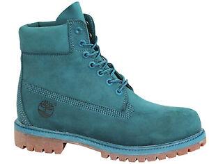 Timberland-15-2cm-Prem-Botas-Hombre-Verde-Azulado-Cuero-Nobuk-Zapatos-con