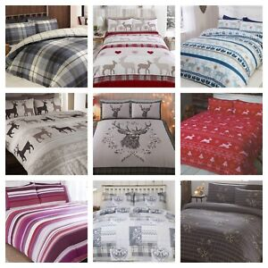 100% Brushed Cotton Xmas Christmas Winter Warm Duvet Cover & Pillowcase Sets