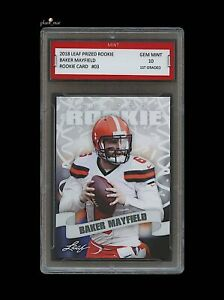BAKER-MAYFIELD-2018-039-18-LEAF-PRIZED-ROOKIE-CARD-1ST-GRADED-10-CLEVELAND-BROWNS