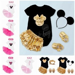 bb9f68fb4bd Minnie Mouse Baby Girl Romper T-Shirt Top Skirt Dress Costume Kid ...