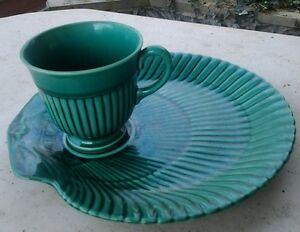 Rare-vintage-Wedgwood-tennis-set-Nautilus-cup-amp-shell-shape-plate-saucer