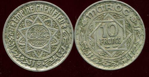 MAROC MOROCCO 10 francs 1366-1946 ca