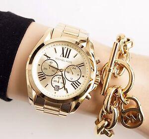 Original-Michael-Kors-Uhr-Damenuhr-MK5605-BRADSHAW-XL-Farbe-Gold-NEU