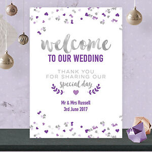 83d536bc33287 Details about Personalised Welcome To Our Wedding Sign Poster in Silver  Effect & Purple SIP1