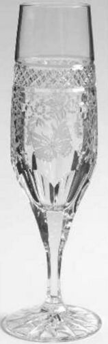 VARGA ART CRYSTAL ANTIQUE BUTTERFLY CHAMPAGNE FLUTE 1pc,   SIGNED