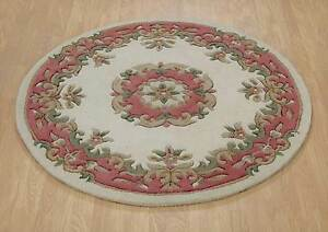 Indian Aubusson Ivory Pink Wool Traditional Round Rugs Chinese 4