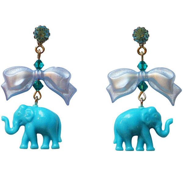 Tarina Tarantino Elephant & Bow Drop Pierced Earrings bluee Made in Los Angeles