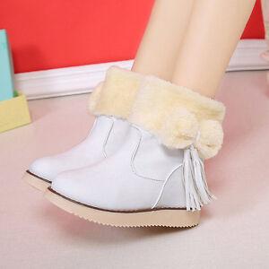 Mujer-Botas-Nieve-Calido-Para-Invierno-LAZO-corto-de-piel-Botines-zapatos-diario
