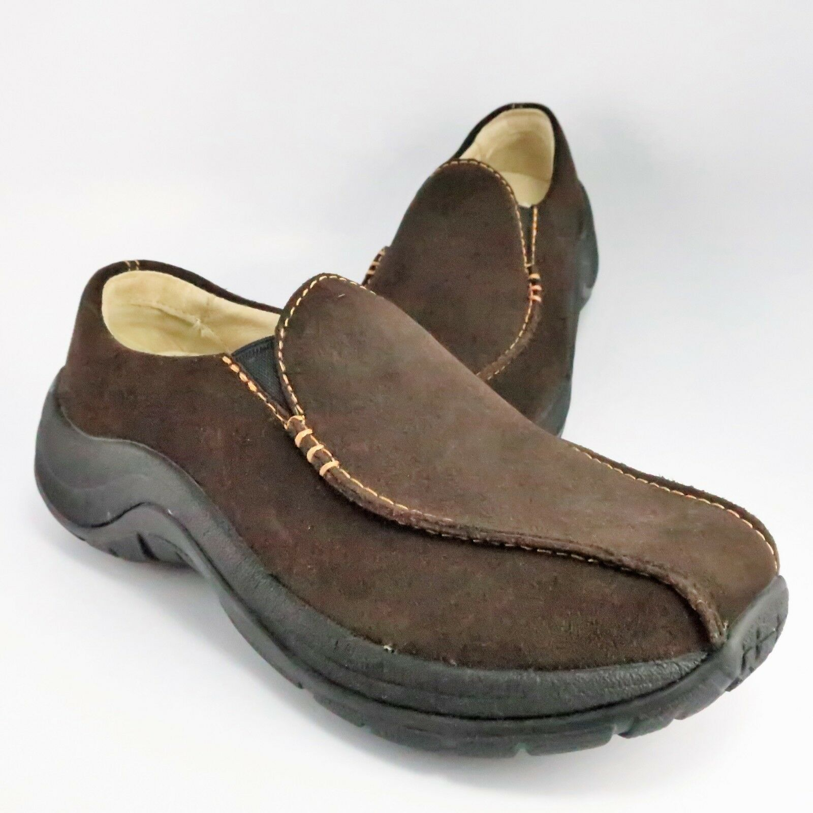 NEW - LL Bean Moccasin Clogs Womens Size 6.5M Brown Suede Leather Slip-On Hiking