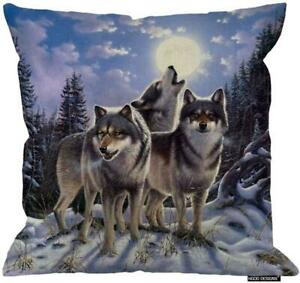 HGOD DESIGNS Wild Wolf in Winter Forest with Full Moon Zippered Pillow Cases Sof