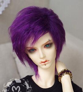 New 1//3 BJD Doll SD PULLIP Hair 22-23cm Deep Purple Medium Long Furbic Wig