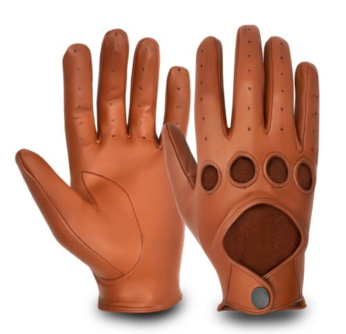 MEN'S CHAUFFEUR DRIVING GLOVES STYLE RETRO CLASSIC VINTAGE REAL LEATHER GLOVE