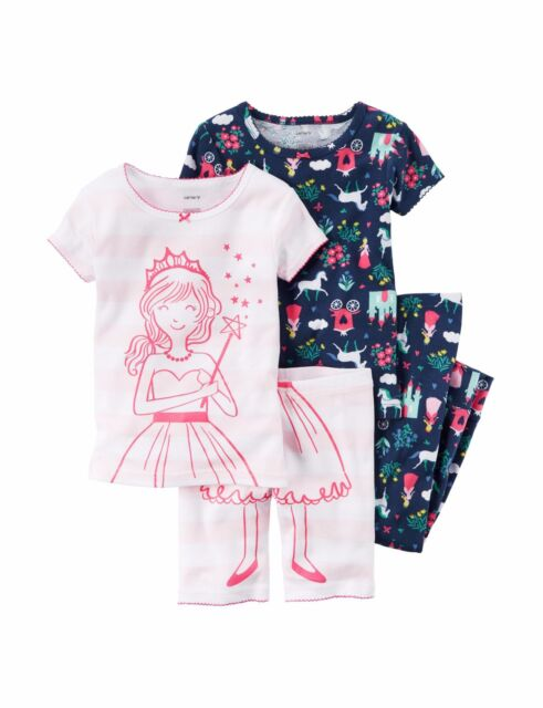b09d71da2 Carter s Baby Girls  4-piece Snug Fit Cotton PJs 12 Months