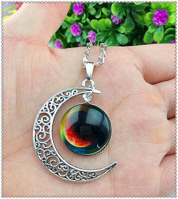 Hot Stylish Women Galaxy Universe Crescent Moon Glass Cabochon Pendant Necklace