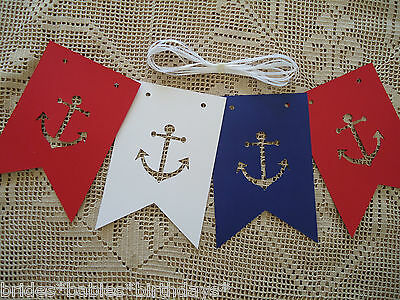 Nautical Bunting Banner Flags Garland Wedding Baby Shower birthday Sailor D8