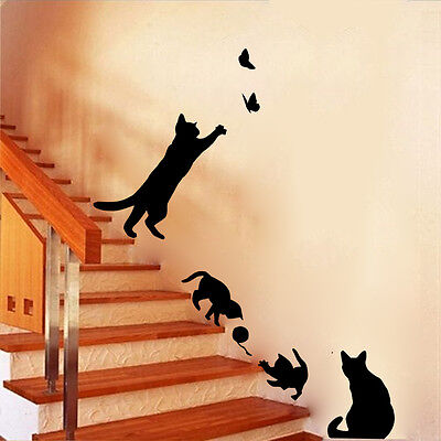 Playing cats vinyl Wall sticker butterfly cute living room home Wallpaper decal