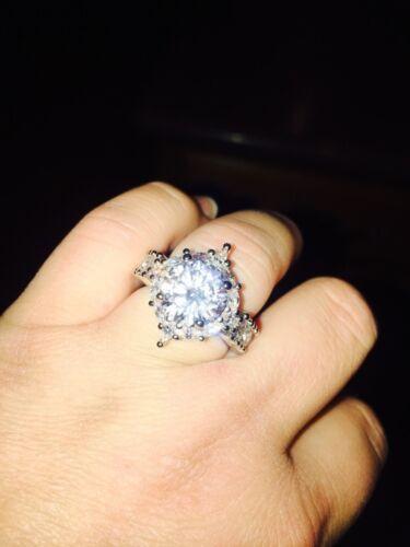 2pcs//set 925 Silver White Topaz Gemstone Ring Fashion Women Wedding Jewelry 5-11