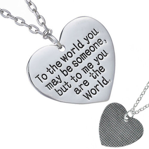 Mothers Day Birthday Gift for Mom Wife You are The World Heart Necklace HOT SALE