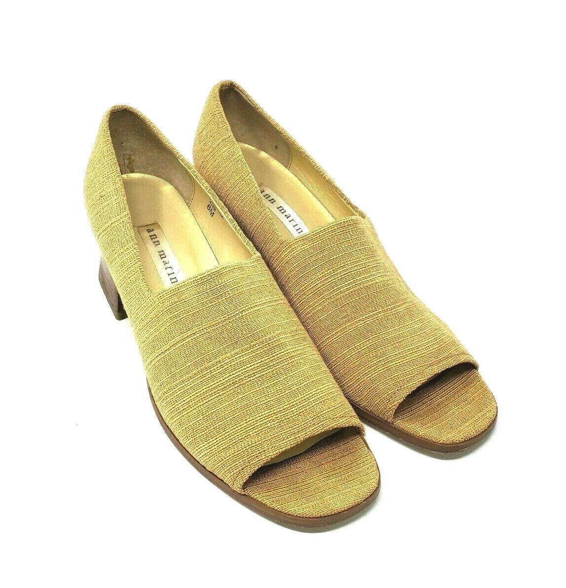 Ann Marino Mustard Yellow Tweed Textile Peep Toe Wood Block Heels