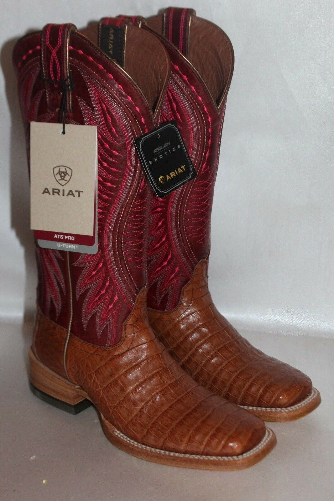 Ariat Women Vaquera TAN blueSH 6.5 Caiman Belly Cowgirl Boot Square Toe 10018549