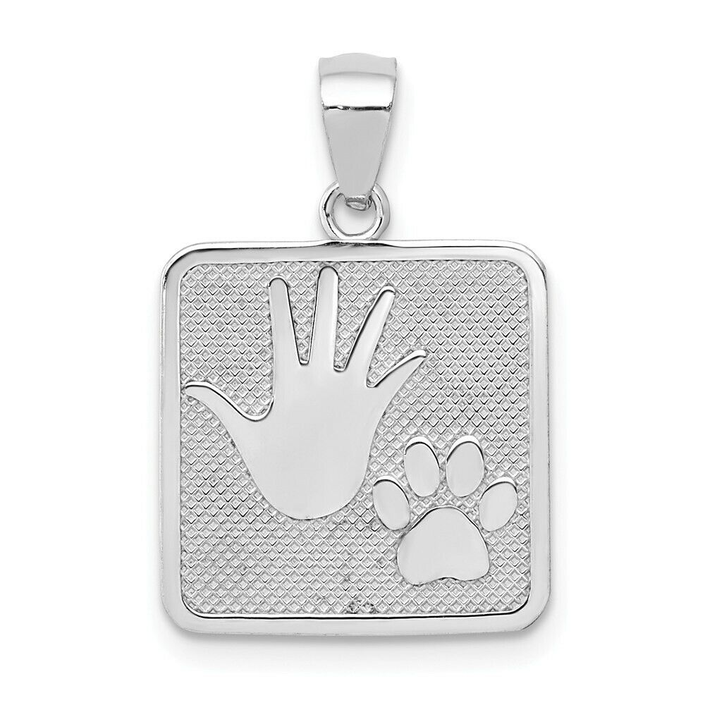 14K Yellow Or White gold Hand Print And Dog Paw Print Textured Square Pendant