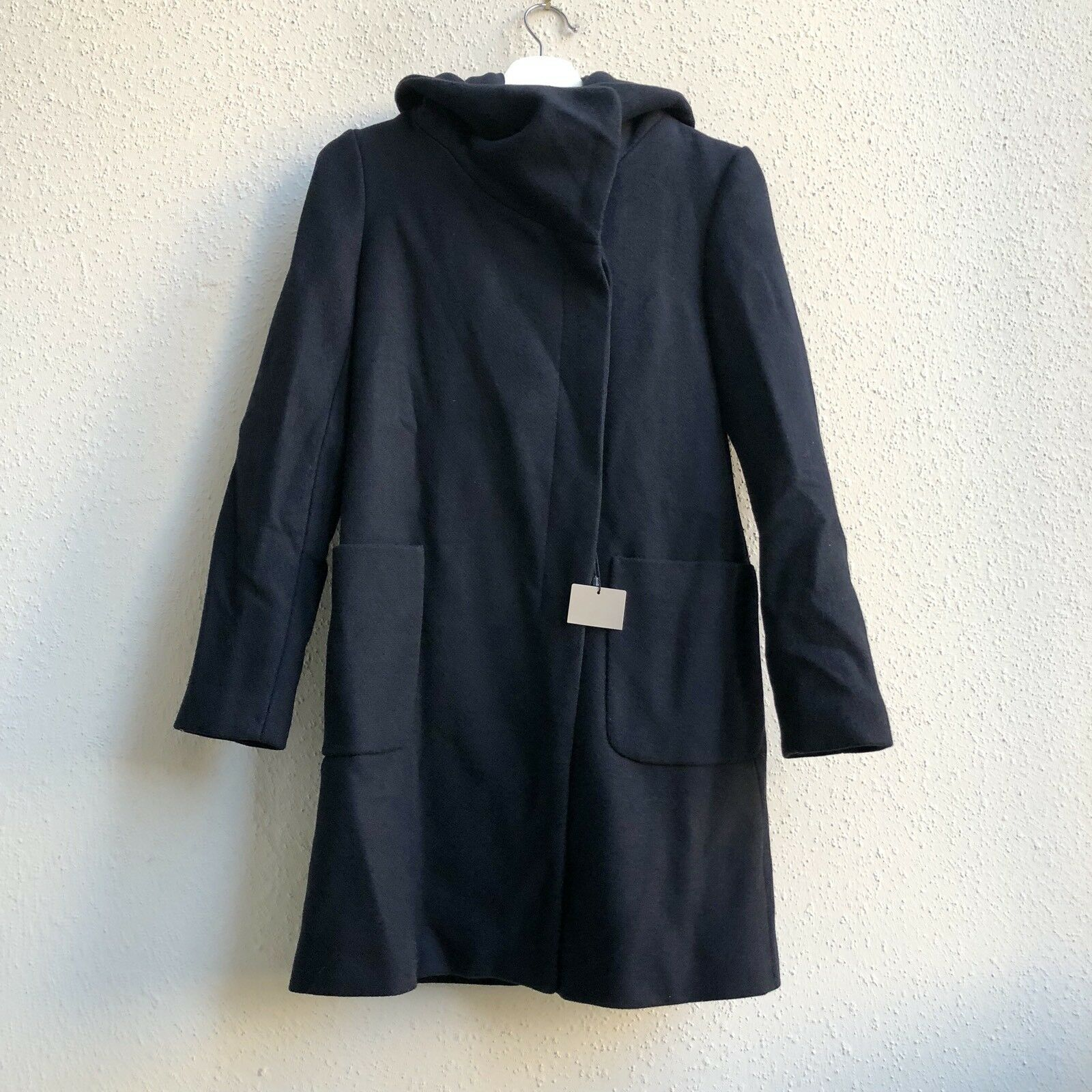 149 NWT ZARA OUTERWEAR NAVY X-Small wool blend Long coat with Wrap Collar S17
