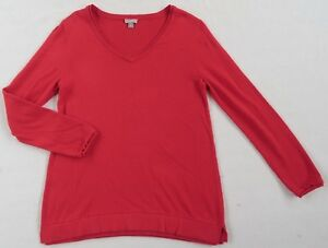 J-Jill-Women-039-s-Nylon-Viscose-Blend-L-S-V-Neck-Solid-Bright-Red-Sweater-Small