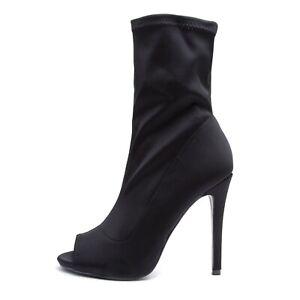 Dettagli su Scarpe Donna Stivaletti Tronchetto Calzino Ankle Boots open toe tacco p1ax3867 6