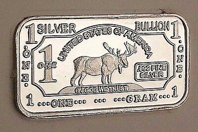 1 Gram .999 Fine Silver Bar Deer Design Great For Starter Collections!