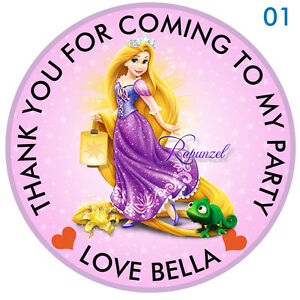 Personalised-Disney-Princess-Rapunzel-Round-15-Stickers-Party-Thank-You-Seals