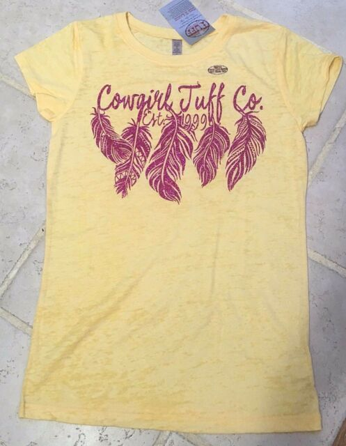 Cowgirl Tuff Western Shirt Girls Feathers S/S Tee XL Yellow 100057 $24.99