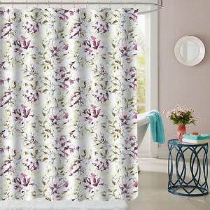 Image Is Loading Dolce Sage Purple Floral Pattern Fabric Bathroom Shower