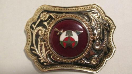 Vintage new old stock Gold /& black  Belt Buckle w//39mm SHRINER emblem dark red
