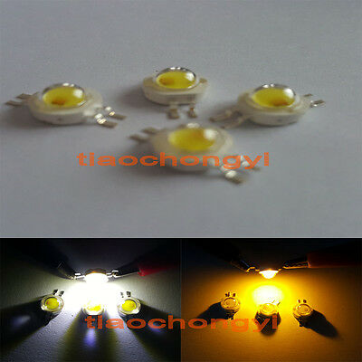 10pcs 3W High Power 2chip Mixed Color LED Yellow 590nm + White 6000k led Chip