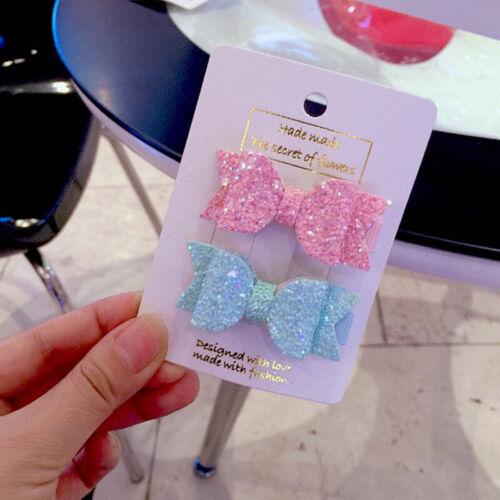2pcs//set Cute Mini Little Girls Hair Bows Clips Sequins Layer Double Hairpins