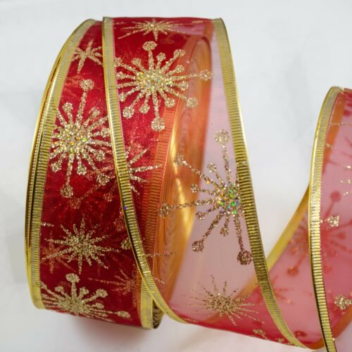 Wired Organza Jute Gold Silver Red  Glitter Band Christmas Ribbon Xmas Tree Bow