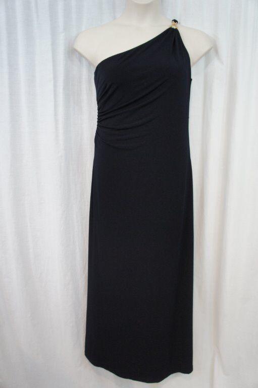 Ivanka Trump Dress Sz 14 Navy Blau Jersey One Shoulder Long Formal Evening Gown