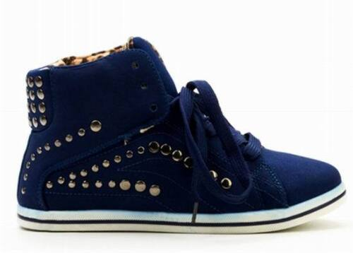 Shumaxx Womens Shoes Round Stud Hi-Top Shoes  UK Size  6  8  EU  39 41