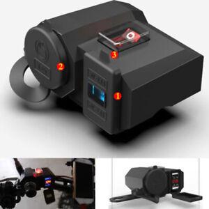 12V-Motorcycle-LED-Voltmeter-Dual-USB-Charger-Adapter-Cigarette-Lighter-Socket