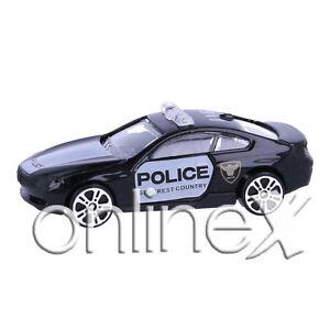 Coche-Policia-Blanco-y-Negro-Escala-1-64-Juguete-Ninos-a1805