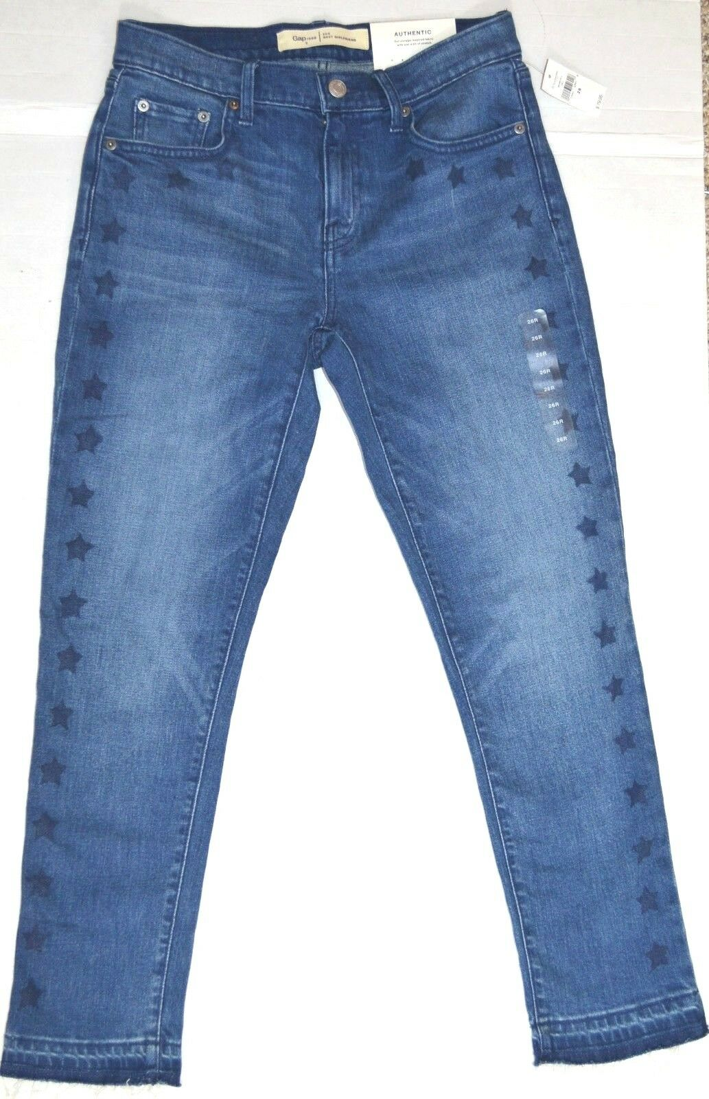 GAP 1969 Best Girlfriend Mid Rise Denim Jeans Women's 26''  Waist -New With Tags