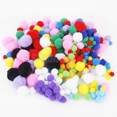 300pcs Assorted Color SOFT Fluffy POMPOMS Craft POM POMS for Crafting 5 Size