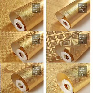 WALL-PAPER-WALLPAPER-ROLL-GOLD-FOIL-EMBOSSED-FEATURE-3D-TEXTURED-6-STYLES